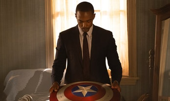 Anthony Mackie as Sam Wilson in The Falcon and the Winter Soldier Episode 1