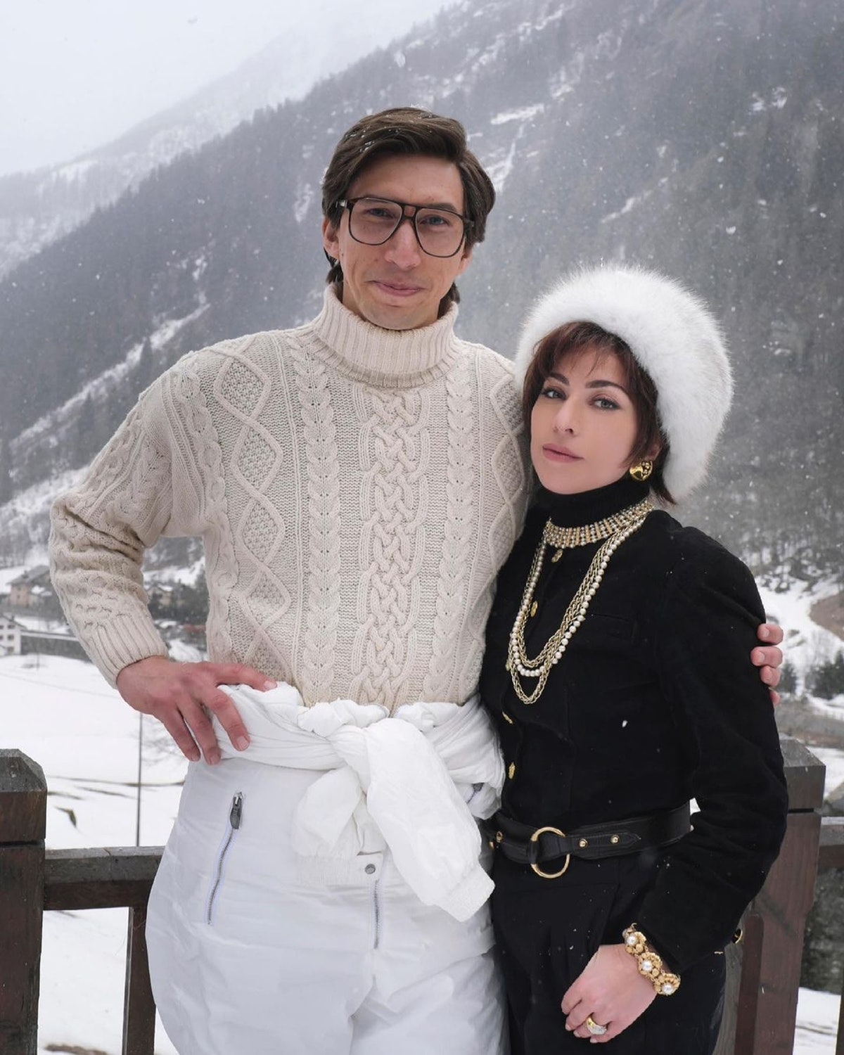 Adam Driver and Lady Gaga on the set of House of Gucci