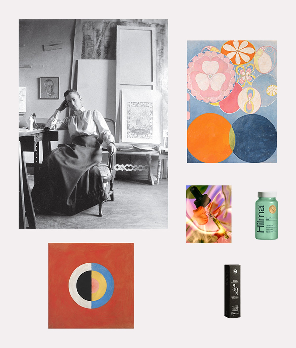 """Clockwise from top left: Hilma af Klint in her studio; Klint's """"Group IV, No. 2. The Ten Largest, Ch..."""