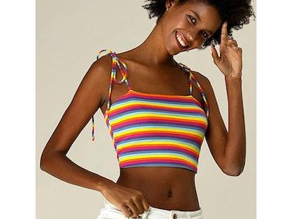 Allegra K Rainbow Striped Crop Top
