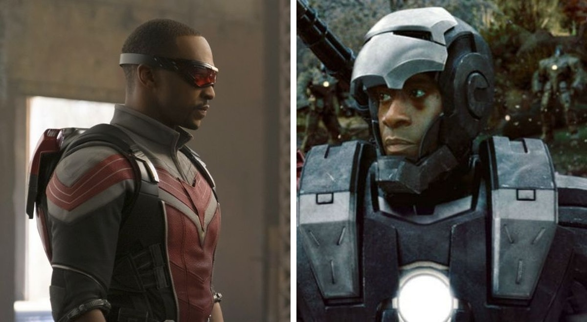 Anthony Mackie as Sam Wilson/Falcon in Falcon & The Winter Soldier, Don Cheadle as James Rhodes/War Machine in Iron Man 2