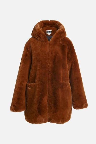 Marie Faux Fur Jacket in Rust