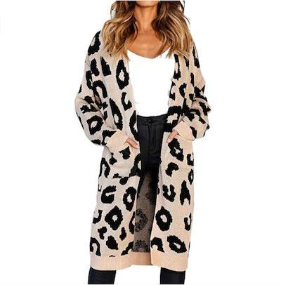 Angashion Leopard Print Cardigan