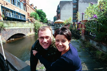Russell T Davies & Nicola Shindler on Canal Street during the filming of 'Queer as Folk'