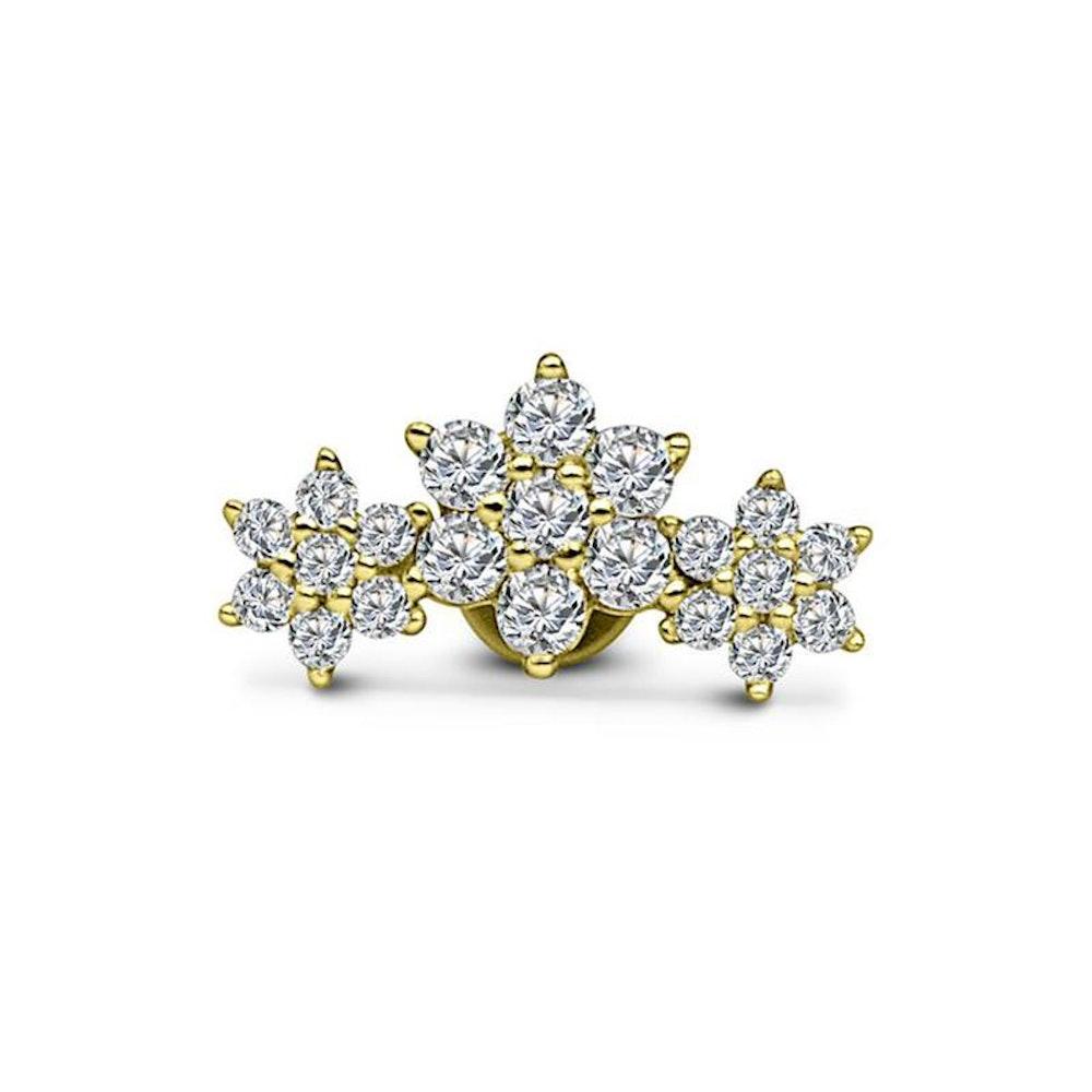 14kt Gold Crystal Flower Cluster Push-Back