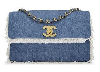 Blue Quilted Denim Half Flap Maxi