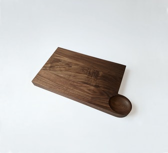 Large Square Cutting Board W/ Oval Bowl