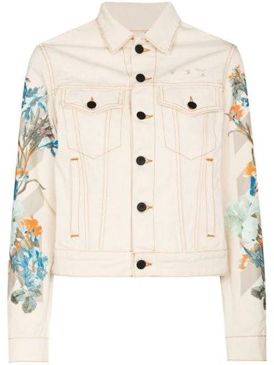 50 floral print detail denim jacket