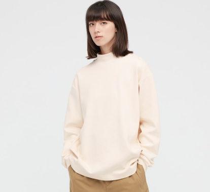 U Mock Neck Long-Sleeve Pullover (30 Natural)