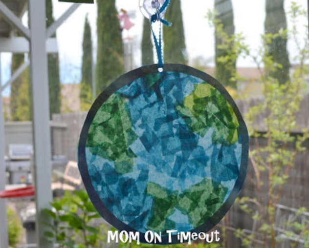 Make stained glass art with tissue paper and wax paper.