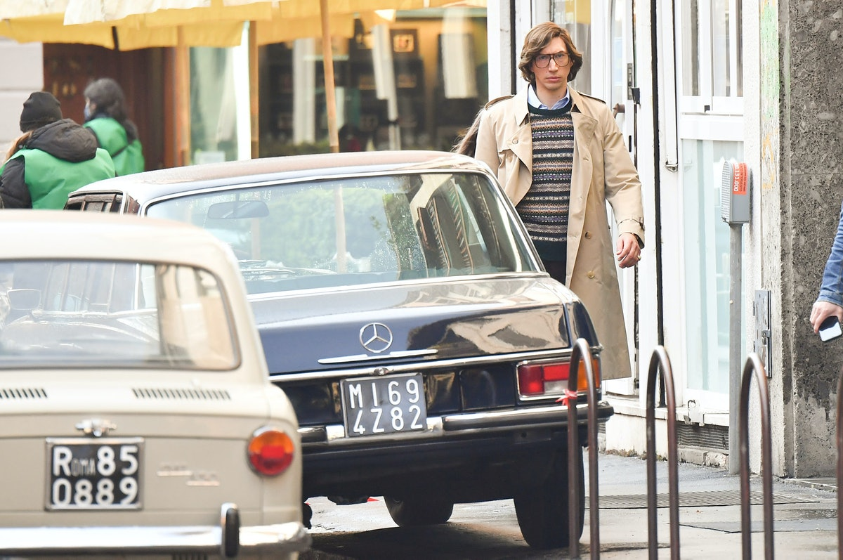 Adam Driver on the set of House of Gucci
