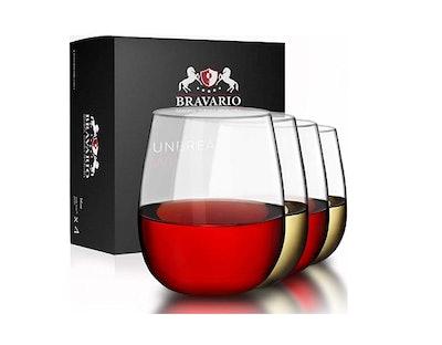 Bravario Unbreakable Stemless Plastic Wine Glasses