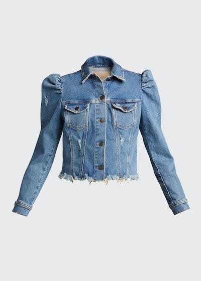 Rissa Puff-Sleeve Distressed Denim Jacket