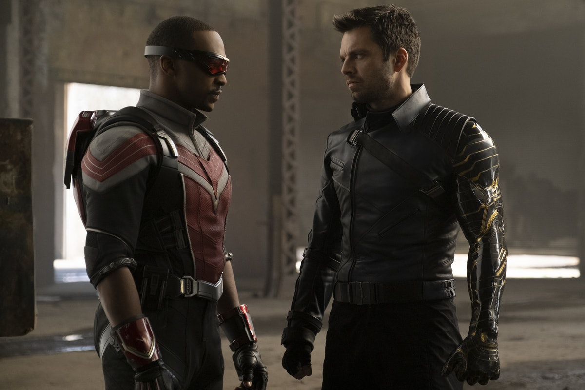 Anthony Mackie and Sebastian Stan as Sam Wilson/Falcon and Bucky Barnes/Winter Soldier in Falcon & The Winter Soldier