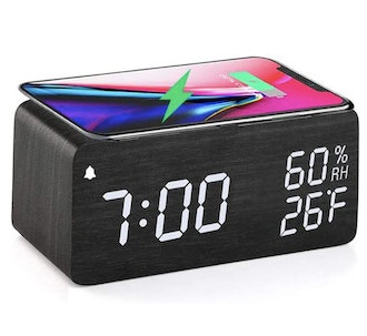 JALL Wooden Digital Alarm Clock with Wireless Charging