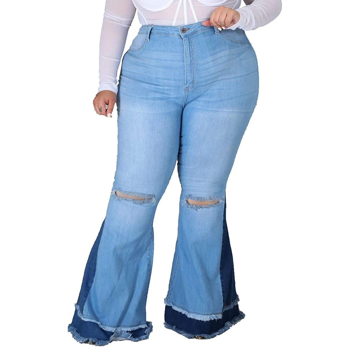 HannahZone Ripped Bell-Bottom Jeans