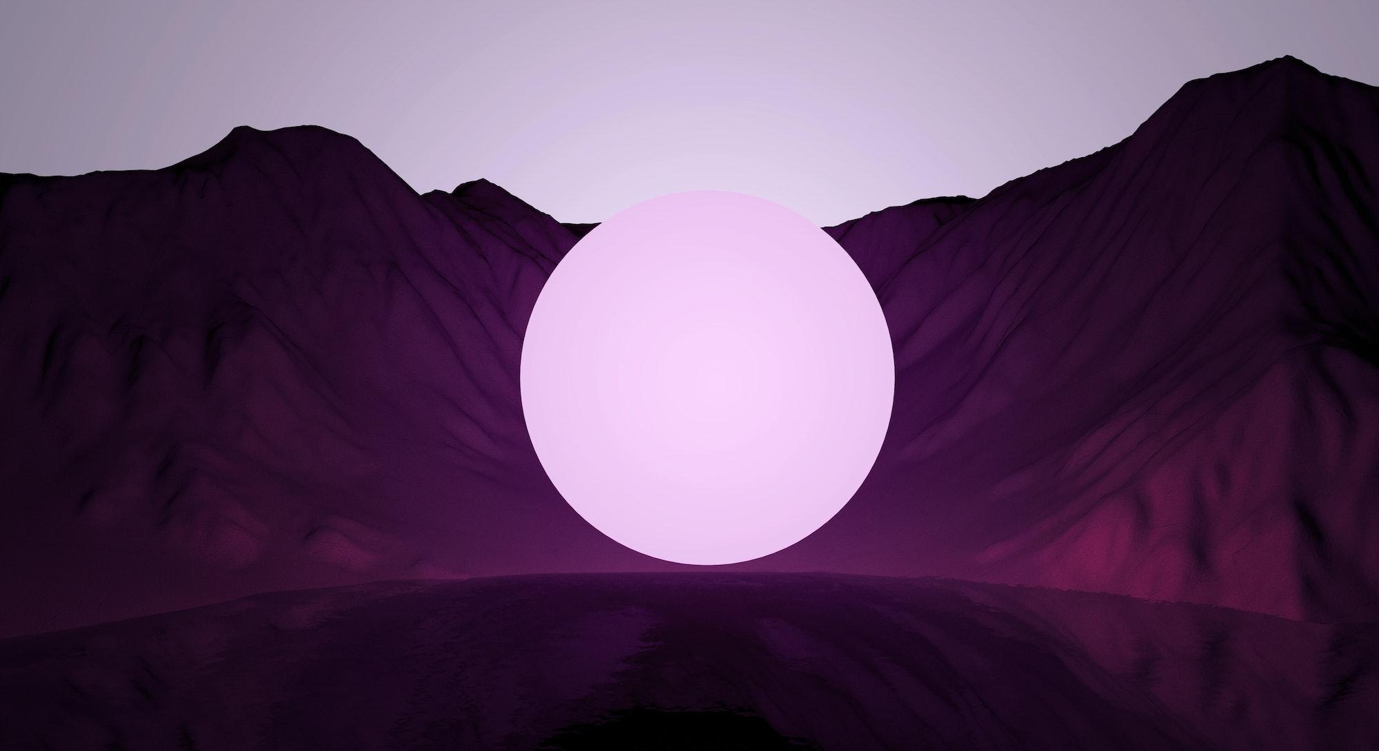 stylized digital sphere against a purple background