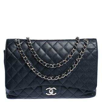Classic Double Flap Bag Quilted Caviar Maxi