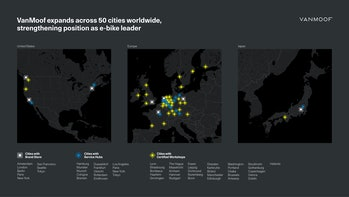 Maps of e-bike maker VanMoof's operations.