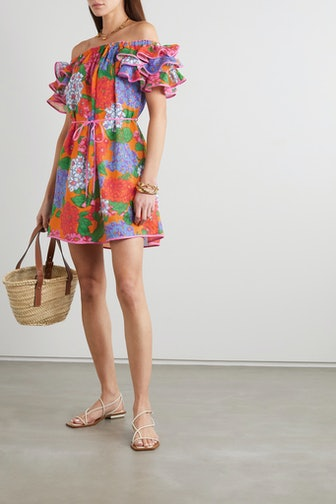 Riders Off-The-Shoulder Ruffled Floral-Print Linen Mini Dress