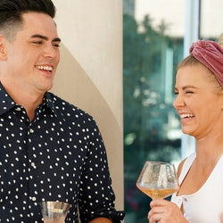 Tom Sandoval and Ariana Madix laughing on 'Vanderpump Rules' via the Bravo press site
