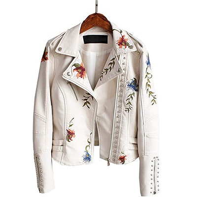LY VAREY LIN Embroidered Faux Leather Moto Jacket