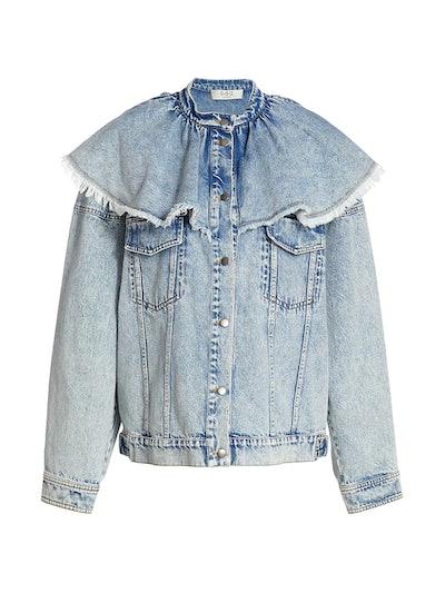 Ruffle Overlay Denim Jacket