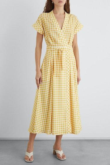 Aisling Gingham Crepe de Chine Midi Wrap Dress