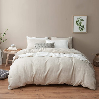 DAPU Pure Stone Washed 100% French Natural Linen Duvet Cover Set
