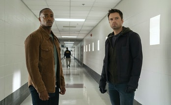 Sebastian Stan as Bucky Barnes and Anthony Mackie as Sam Wilson in The Falcon and the Winter Soldier