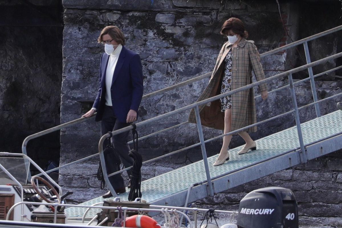 Adam Driver and Lady Gaga walking down a ramp