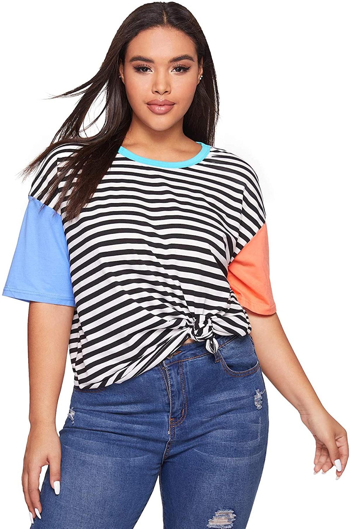 Romwe Crewneck Striped Short-Sleeve T-Shirt