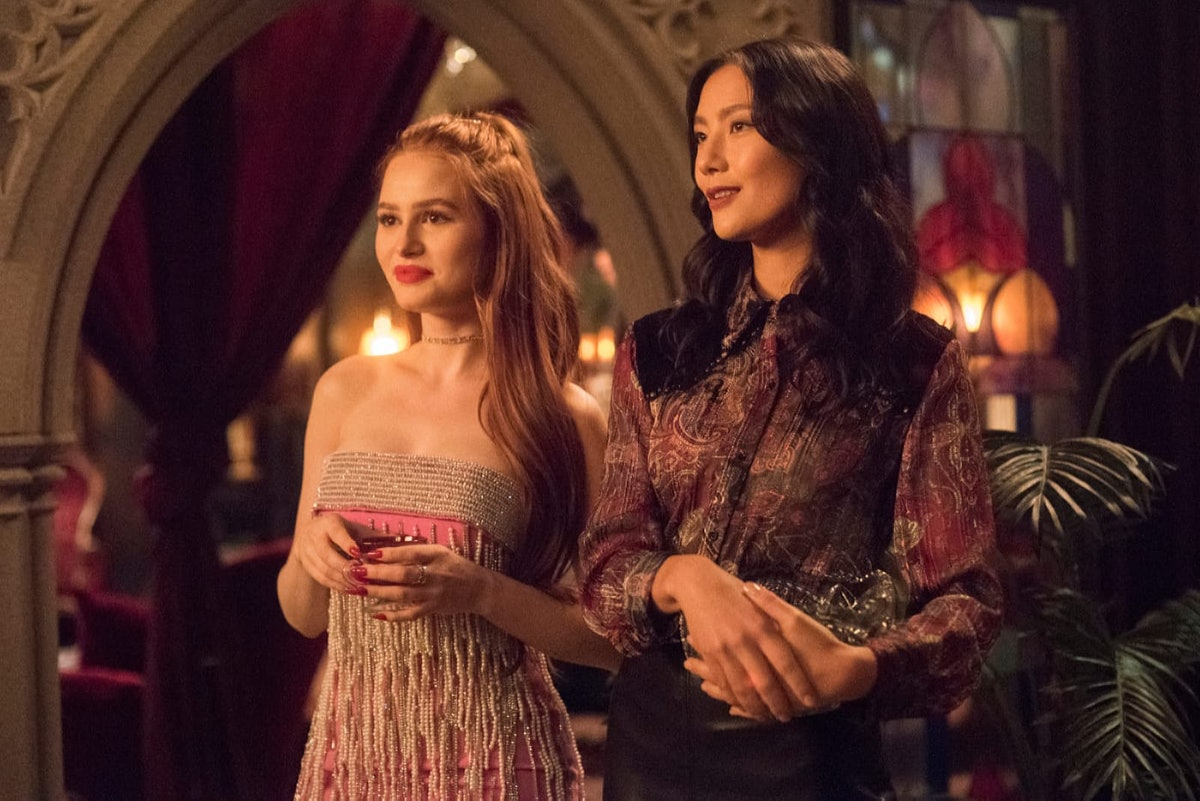 Madeleine Petsch as Cheryl and Adeline Rudolph as Minerva in Riverdale Season 5.
