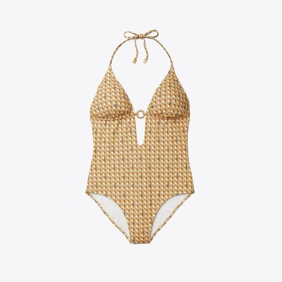 Basket Weave Print Ring One-Piece Swimsuit