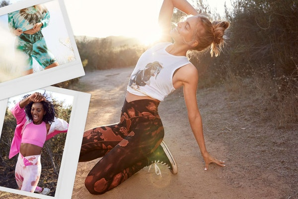 Women out hiking and running in Aerie's OFFLINE Crossover Leggings.