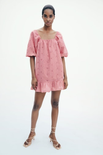 Openwork Embroidered Mini Dress