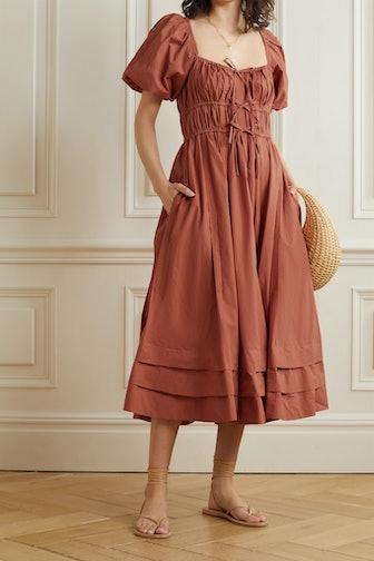 Palma Tie-Detailed Gathered Cotton-Poplin Midi Dress