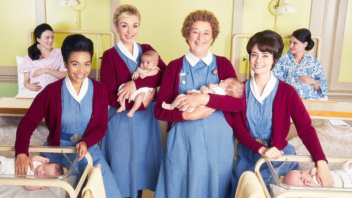 Leonie Elliott, Helen George, Linda Bassett, and Jennifer Kirby in Call The Midwife Season 9