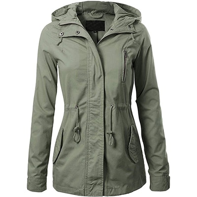 Design By Olivia Military Hooded Jacket