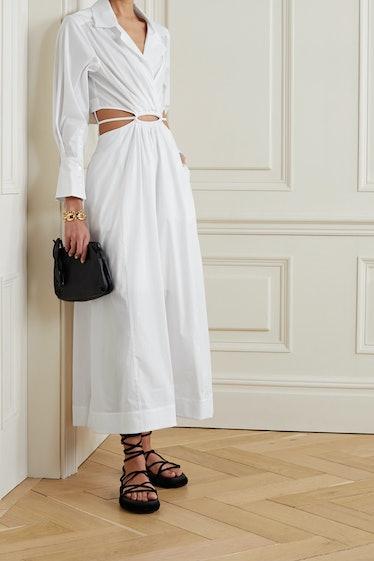 Alex Cutout Cotton-Blend Poplin Midi Shirt Dress