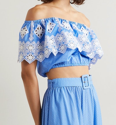 Miguelina Dakota Off-the-Shoulder Embroidered Polka-Dot Cotton Poplin Top