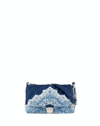 Quilted Paisley-Print Denim Shoulder Bag