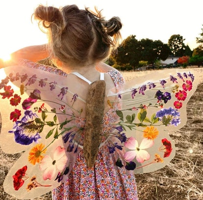 fairy wings made with pressed flowers