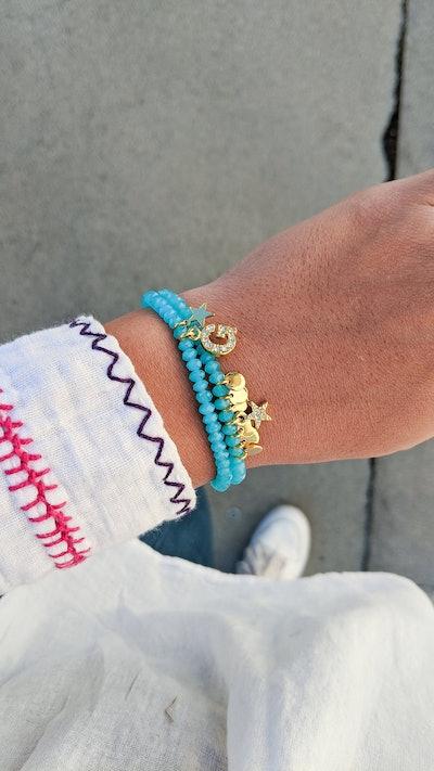 Blue Crystal Monogram Stretch Bracelet Set