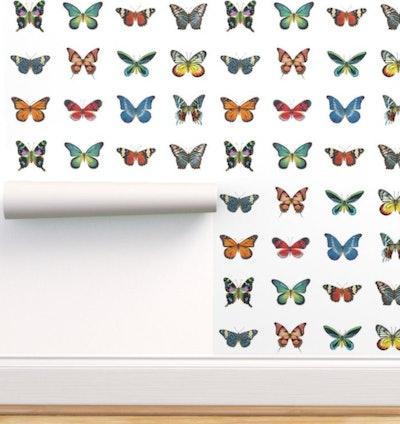 Spoonflower Butterflies Wallpaper