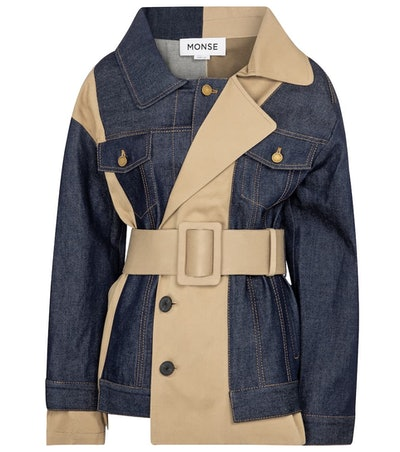 Patchwork Denim Trench Jacket