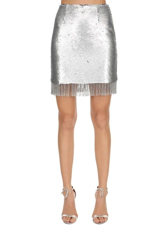 Sequined Mini Skirt With Fringe