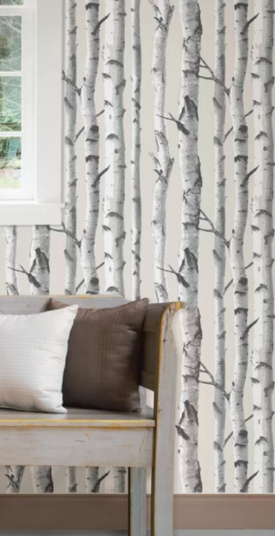 White/Gray/Taupe Veja Peel And Stick Wallpaper Roll