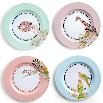Set Of 4 Safari Picnic Dinner Plates