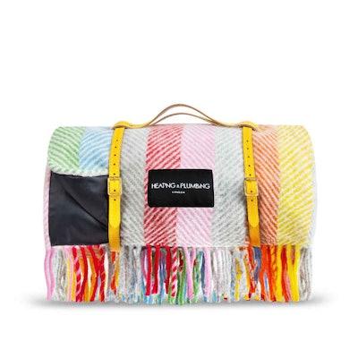 Pure New Wool Waterproof Picnic Blanket Rainbow